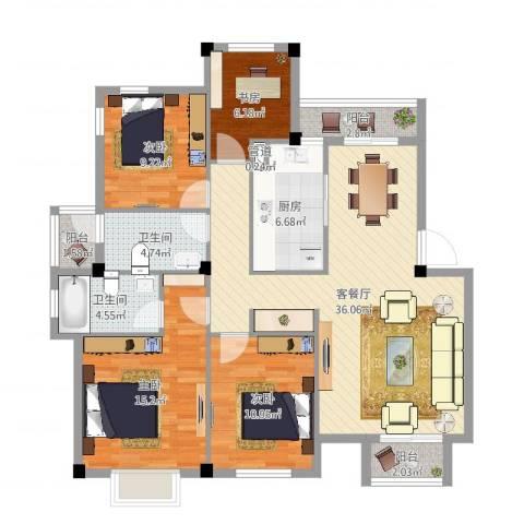 联丰一品园4室2厅2卫1厨125.00㎡户型图