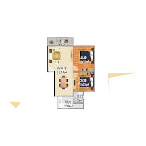 鸿基公寓2室2厅1卫1厨103.00㎡户型图
