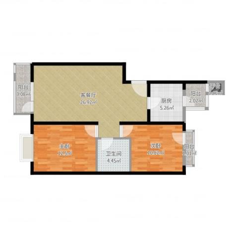 领秀新硅谷2室2厅1卫1厨83.00㎡户型图