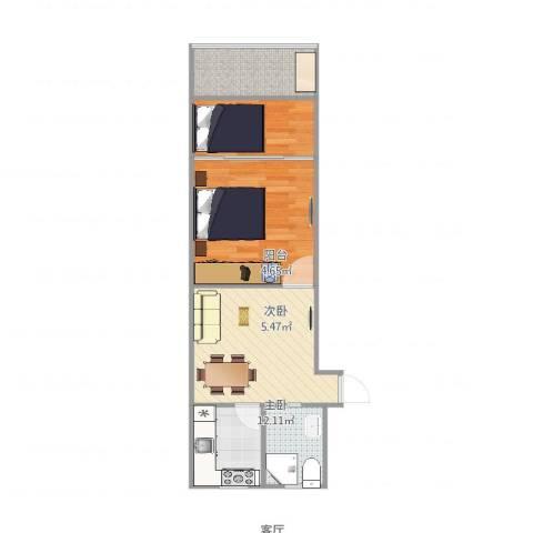 泗塘七村2室1厅1卫1厨52.00㎡户型图