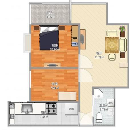 石景山杨庄小区2室1厅1卫1厨69.00㎡户型图