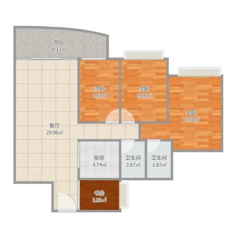 富逸上苑4室1厅2卫1厨104.00㎡户型图