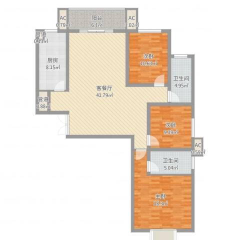 港岛玫瑰园3室2厅2卫1厨135.00㎡户型图