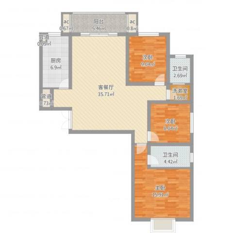 港岛玫瑰园3室2厅2卫1厨115.00㎡户型图