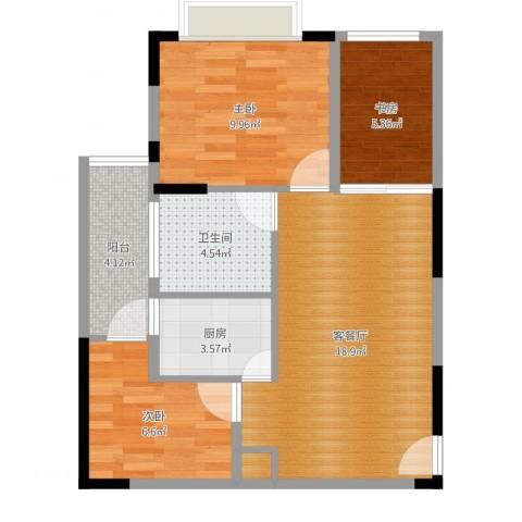 美每家美华星都3室2厅1卫1厨67.00㎡户型图