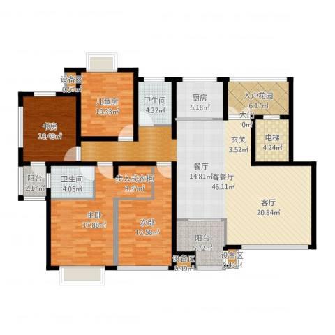 松江运河城4室2厅2卫1厨163.00㎡户型图