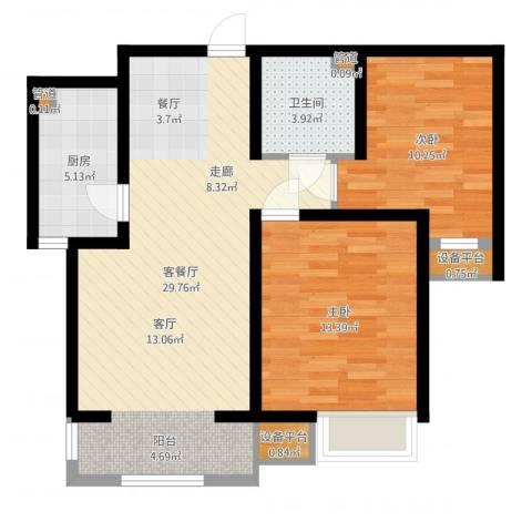 华城领秀2室2厅1卫1厨80.00㎡户型图