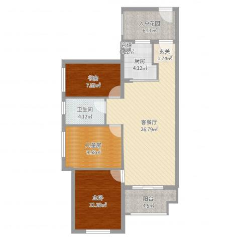 万科金域国际3室2厅3卫1厨93.00㎡户型图