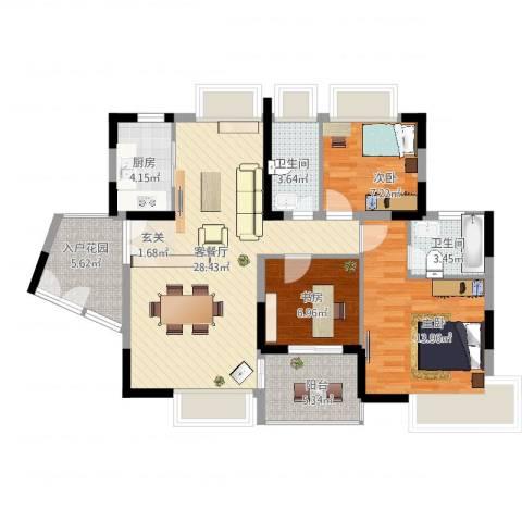 锦绣江南四期3室2厅2卫1厨113.00㎡户型图
