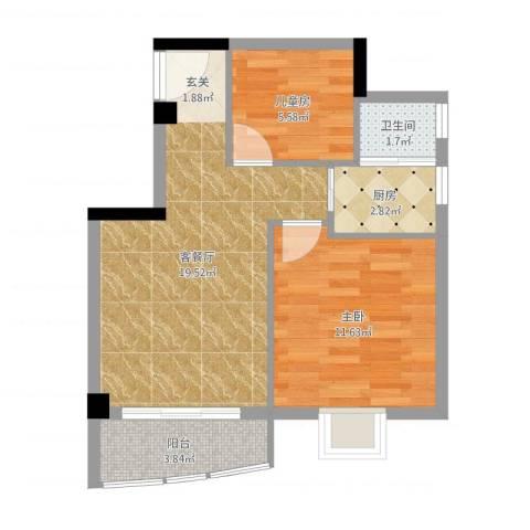翔鹭花城新生活2室2厅1卫1厨56.00㎡户型图