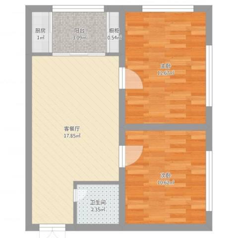 绿城新干线2室2厅1卫1厨60.00㎡户型图