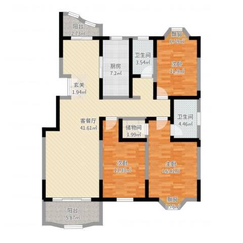 园景天下3室2厅2卫1厨136.00㎡户型图