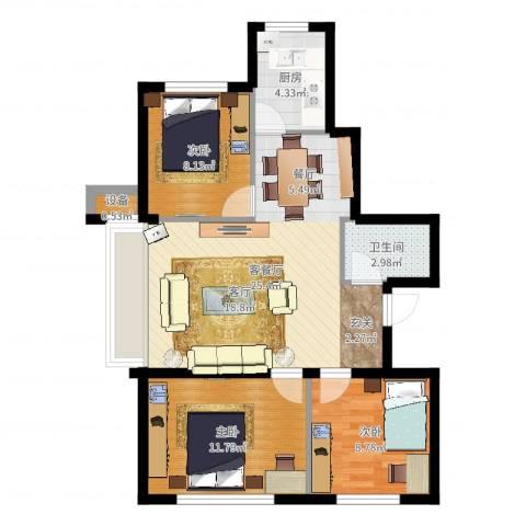 东升御景苑二期3室2厅1卫1厨77.00㎡户型图