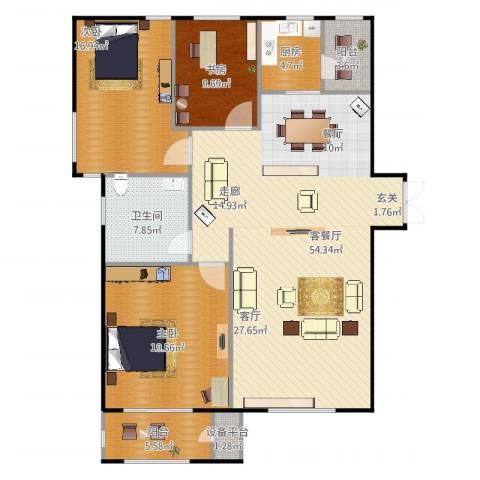华中国宅华园3室2厅1卫1厨164.00㎡户型图