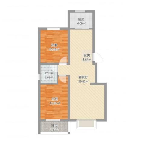 水岸金城2室2厅1卫1厨79.00㎡户型图