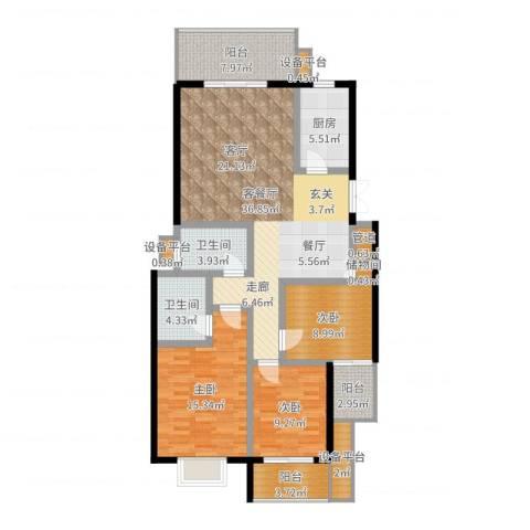 鑫远湘府华城3室2厅2卫1厨128.00㎡户型图