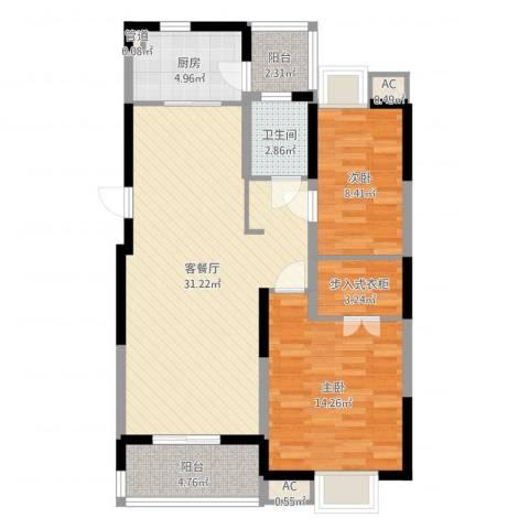 大华锦绣华城公园新纪2室2厅1卫1厨91.00㎡户型图