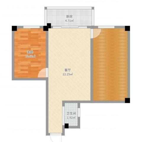 番禺富华楼1室1厅1卫1厨69.00㎡户型图