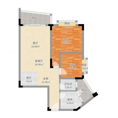 银海峰景2室2厅1卫1厨104.00㎡户型图
