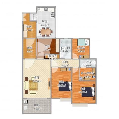 银地绿洲4室1厅2卫1厨140.00㎡户型图