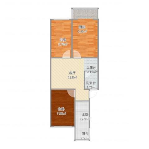 芳草园3室1厅1卫1厨63.00㎡户型图