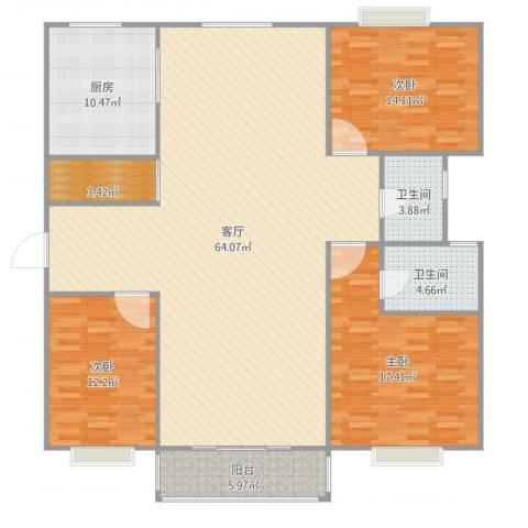 正阳名仕苑3室2厅2卫3室1厅2卫1厨170.00㎡户型图