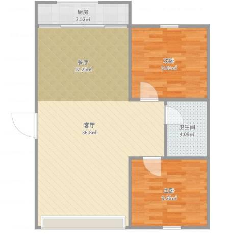 翠竹南里2室1厅1卫1厨79.00㎡户型图