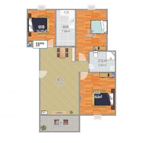 新都华城3室1厅1卫1厨117.00㎡户型图