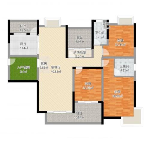 中海万锦东苑3室2厅2卫1厨162.00㎡户型图