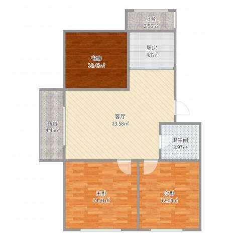 长春明珠3室1厅1卫1厨95.00㎡户型图