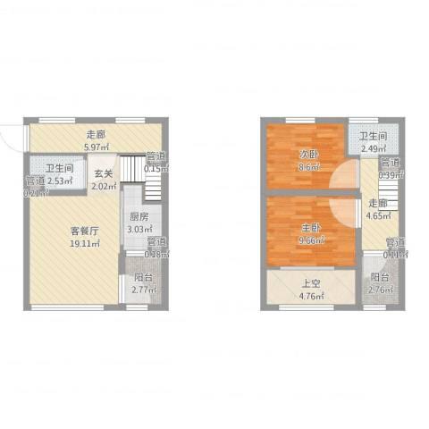 亿科公元20102室2厅2卫1厨84.00㎡户型图