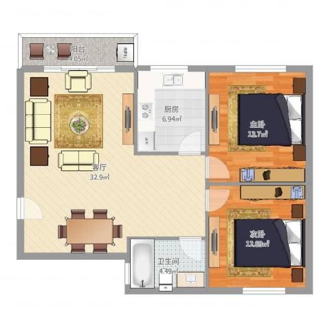 惊驾名庭2室1厅1卫1厨93.00㎡户型图