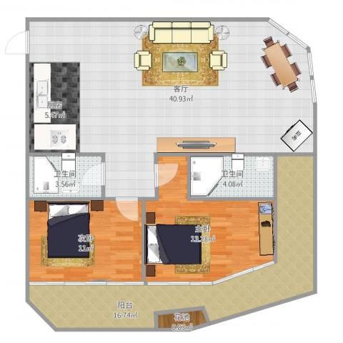 国航帕尔美纳2室1厅2卫1厨120.00㎡户型图