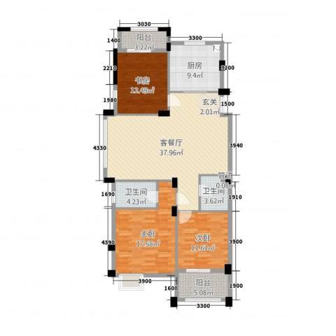春江花园3室2厅2卫1厨143.00㎡户型图