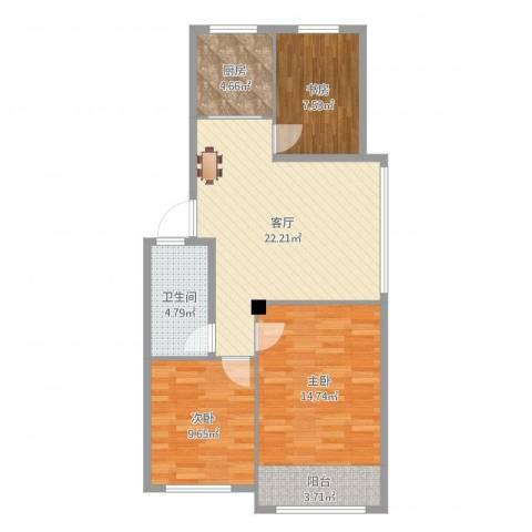 东发现代城山水园3室1厅1卫1厨84.00㎡户型图