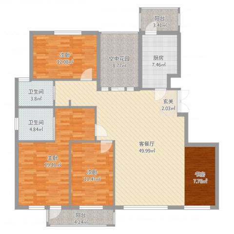 北京公园3室2厅2卫1厨157.00㎡户型图