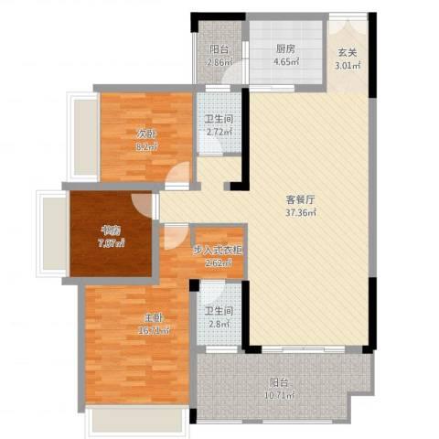 花滩国际新城丁香郡3室2厅2卫1厨93.07㎡户型图
