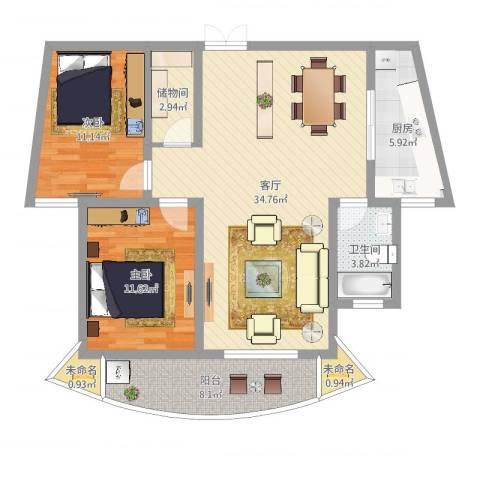 宁东家园2室1厅1卫1厨115.00㎡户型图