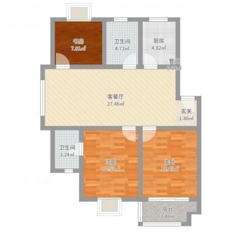 半岛玲珑家园3室2厅2卫1厨95.00㎡户型图