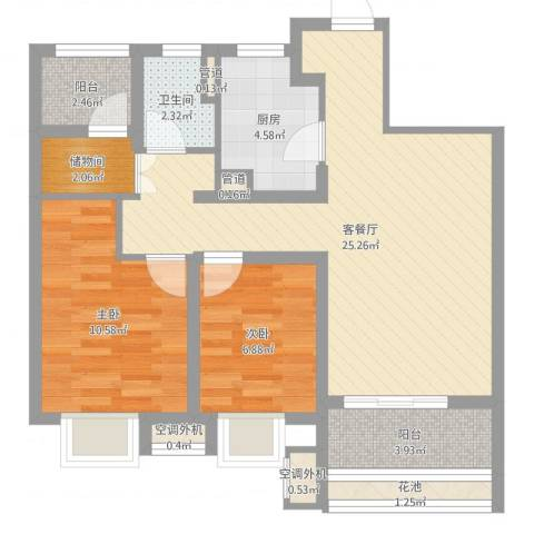 上海闵行区万科vcity2室2厅1卫1厨76.00㎡户型图