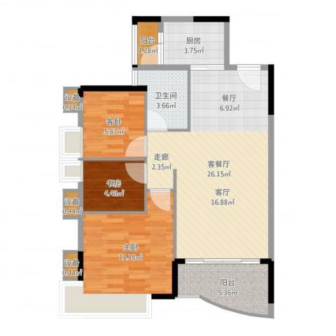 旭景家园3室2厅1卫1厨79.00㎡户型图