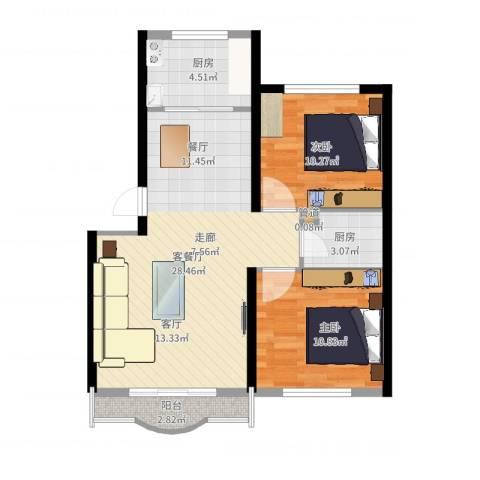幸福嘉园2室2厅1卫1厨76.00㎡户型图