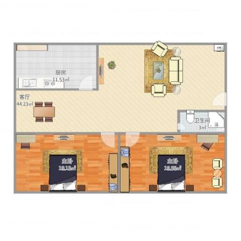 奉浦二村2室1厅1卫1厨129.00㎡户型图