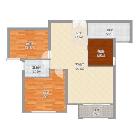 万成香格里拉3室2厅1卫1厨82.00㎡户型图