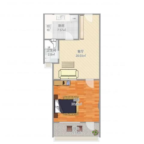 长盛小区1室1厅1卫1厨67.00㎡户型图