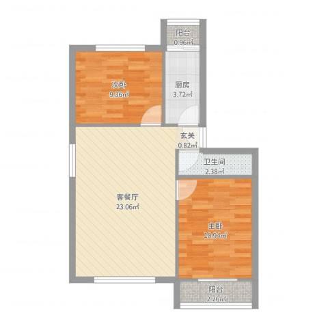 龙腾苑四区2室2厅1卫1厨66.00㎡户型图