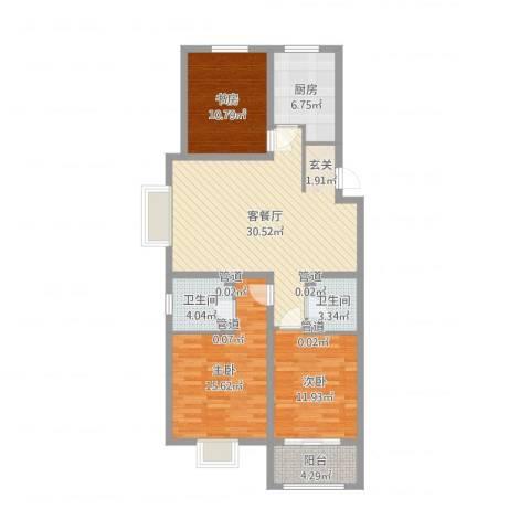 中达・名门世家3室2厅2卫1厨109.00㎡户型图