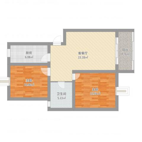 齐爱佳苑2室2厅1卫1厨93.00㎡户型图