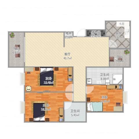 新都华城3室1厅2卫1厨151.00㎡户型图