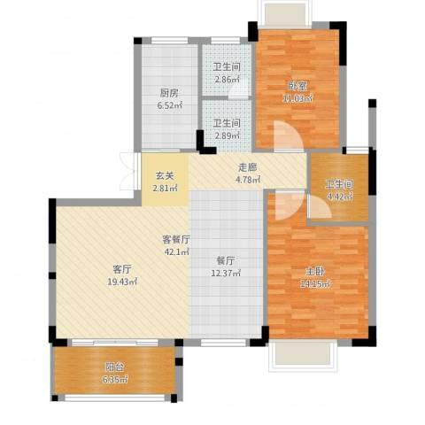 联泰棕榈庄园1室2厅2卫1厨109.00㎡户型图